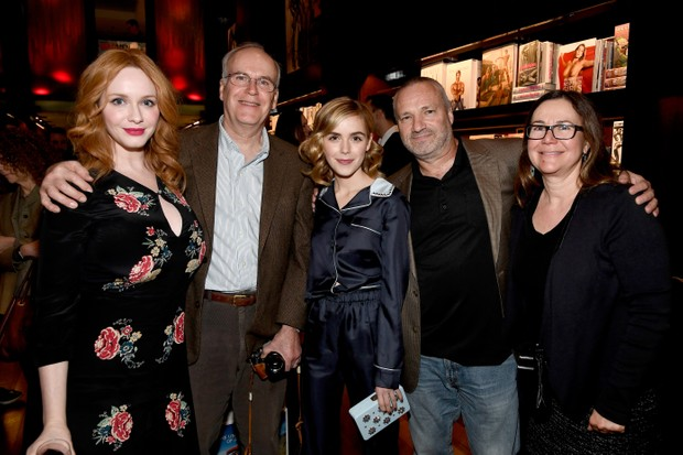 """BEVERLY HILLS, CA - FEBRUARY 23: (L-R) Actor Christina Hendricks, Robert Hendricks, actor Kiernan Shipka, executive producers Andre Jacquemetton and Maria Jacquemetton attend the launch for Matthew Weiner's Book """"Mad Men"""" at TASCHEN Store Beverly Hills on February 23, 2017 in Beverly Hills, California. (Photo by Frazer Harrison/Getty Images)"""