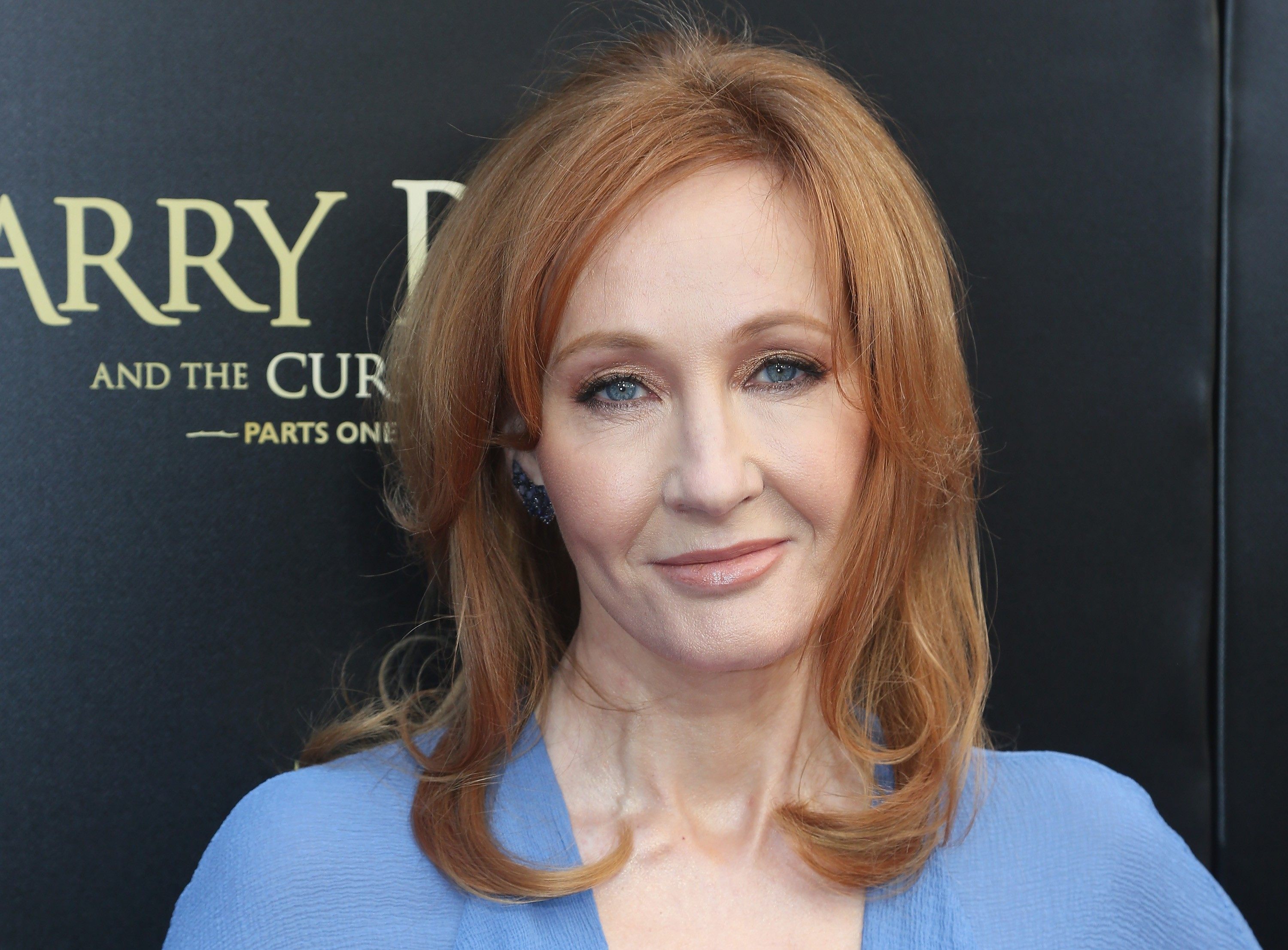 """NEW YORK, NY - APRIL 22:  J.K. Rowling poses at """"Harry Potter and The Cursed Child parts 1 & 2"""" on Broadway Opening Night at The Lyric Theatre on April 22, 2018 in New York City.  (Photo by Bruce Glikas/Bruce Glikas/FilmMagic)"""