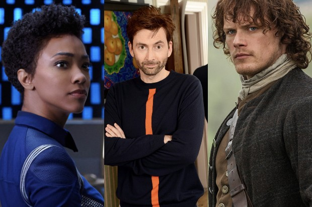 Sonequa Martin-Green, David Tennant and Sam Heughan (Netflix, Getty, Amazon, HF)
