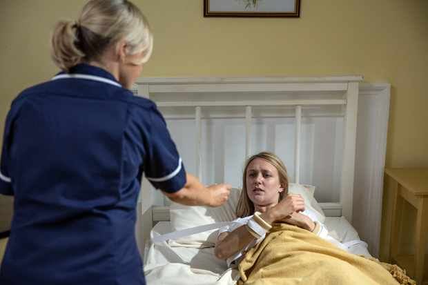 Rebecca white is alive and being cared for by a nurse who is sedating her.