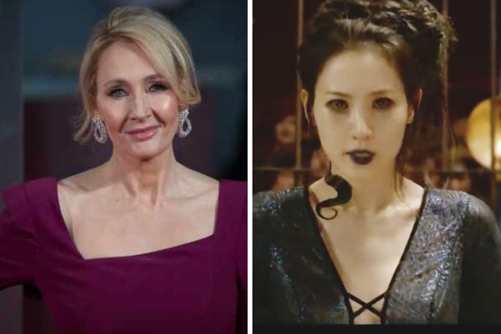 JK Rowling (Getty) and Claudia Kim (screenshot, Fantastic Beasts 2 trailer)