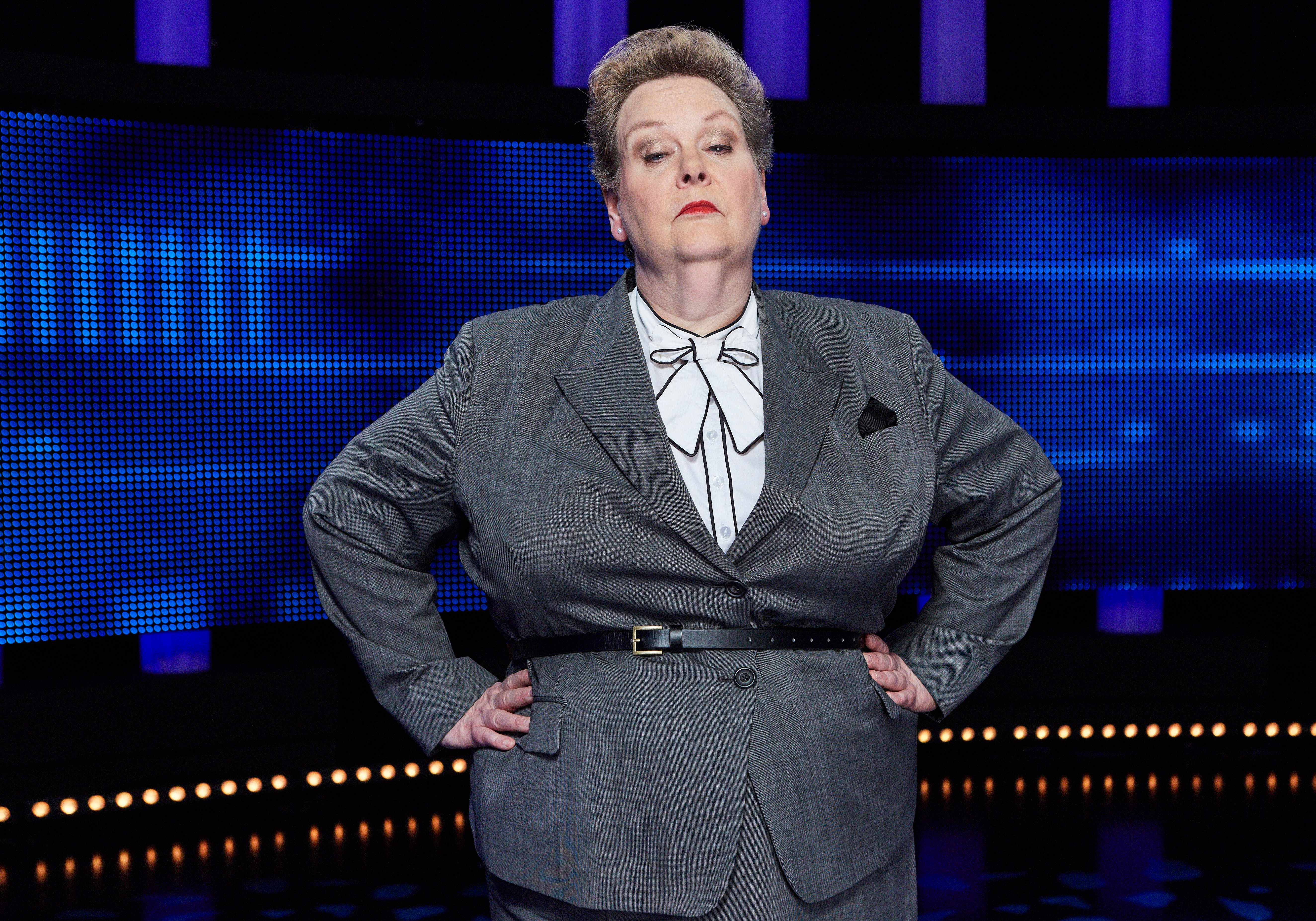 From ITV Studios THE CHASE Weekdays on ITV Pictured: Chaser, Anne ÒThe GovernessÓ Hegerty© ITV Photographer: Matt Frost For further information please contact Peter Gray0207 157 3046 peter.gray@itv.comThis photograph is © ITV and can only be reproduced for editorial purposes directly in connection with the programme THE CHASE or ITV. Once made available by the ITV Picture Desk, this photograph can be reproduced once only up until the Transmission date and no reproduction fee will be charged. Any subsequent usage may incur a fee. This photograph must not be syndicated to any other publication or website, or permanently archived, without the express written permission of ITV Picture Desk. Full Terms and conditions are available on the website www.itvpictures.com