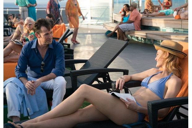 Noah Wyle and Kerry Bishé in The Romanoffs episode 2, The Royal We (Amazon)