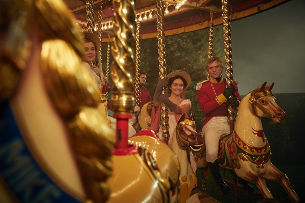 Olivia Cooke as Becky Sharp and Johnny Flynn as William Dobbin in the first episode of Vanity Fair – complete with historically dubious electric light bulbs (ITV)