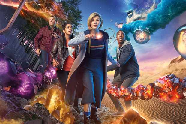 Bradley Walsh, Mandip Gill, Jodie Whittaker and Tosin Cole in Doctor Who series 11 (BBC, HF)