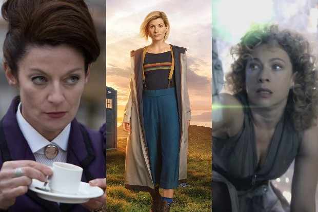 Michelle Gomez' Missy, Jodie Whittaker's Doctor and Alex Kingston's River Song in Doctor Who (BBC, HF)
