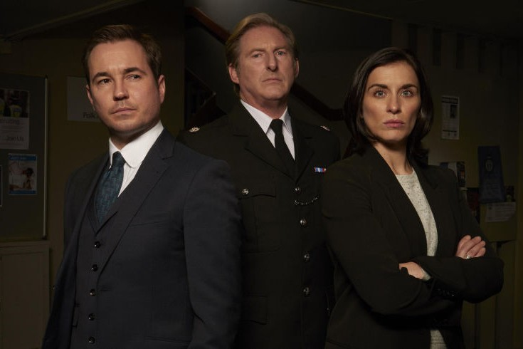 Martin Compston, Adrian Dunbar and Vicky McClure in Line of Duty (BBC, HF)