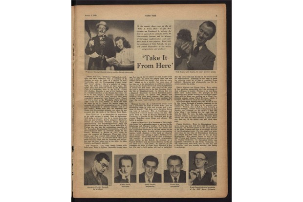 Presenter Denis Norden profiled in Radio Times in 1949 ahead of his radio series Take It From Here (RadioTimes)