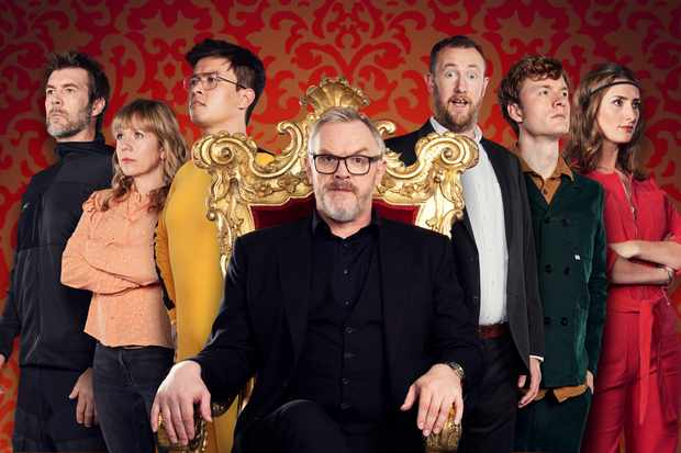 Taskmaster S7 Picture Shows: (L-R) Rhod Gilbert, Kerry Godliman, Phil Wang, Greg Davies, Alex Horne, James Acaster and Jessica Knappett (UKTV)