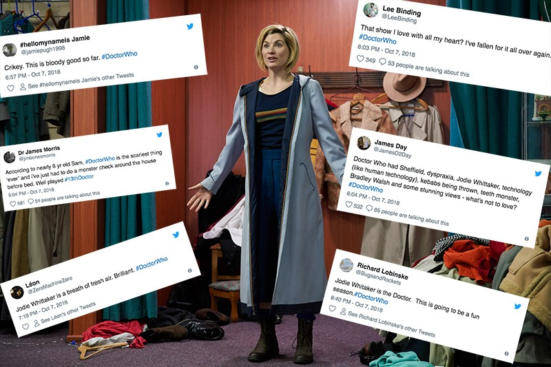 Jodie Whittaker and some tweets (BBC, HF)