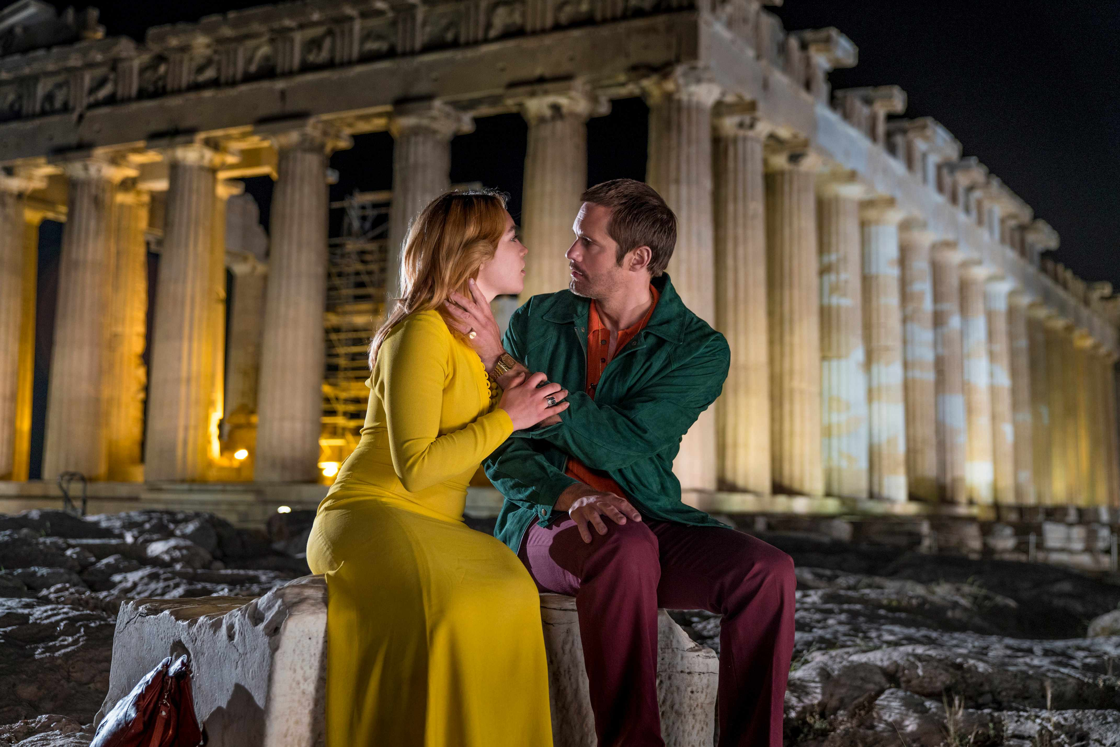 Programme Name: The Little Drummer Girl - TX: n/a - Episode: Early Release (No. n/a) - Picture Shows: *EMBARGOED FOR PUBLICATION UNTIL 23:15:01 ON SATURDAY 28TH JULY 2018* (L-R) Charlie (FLORENCE PUGH), Becker (ALEXANDER SKARSGARD) - (C) The Little Drummer Girl Distribution Limited.  - Photographer: Jonathan Olley