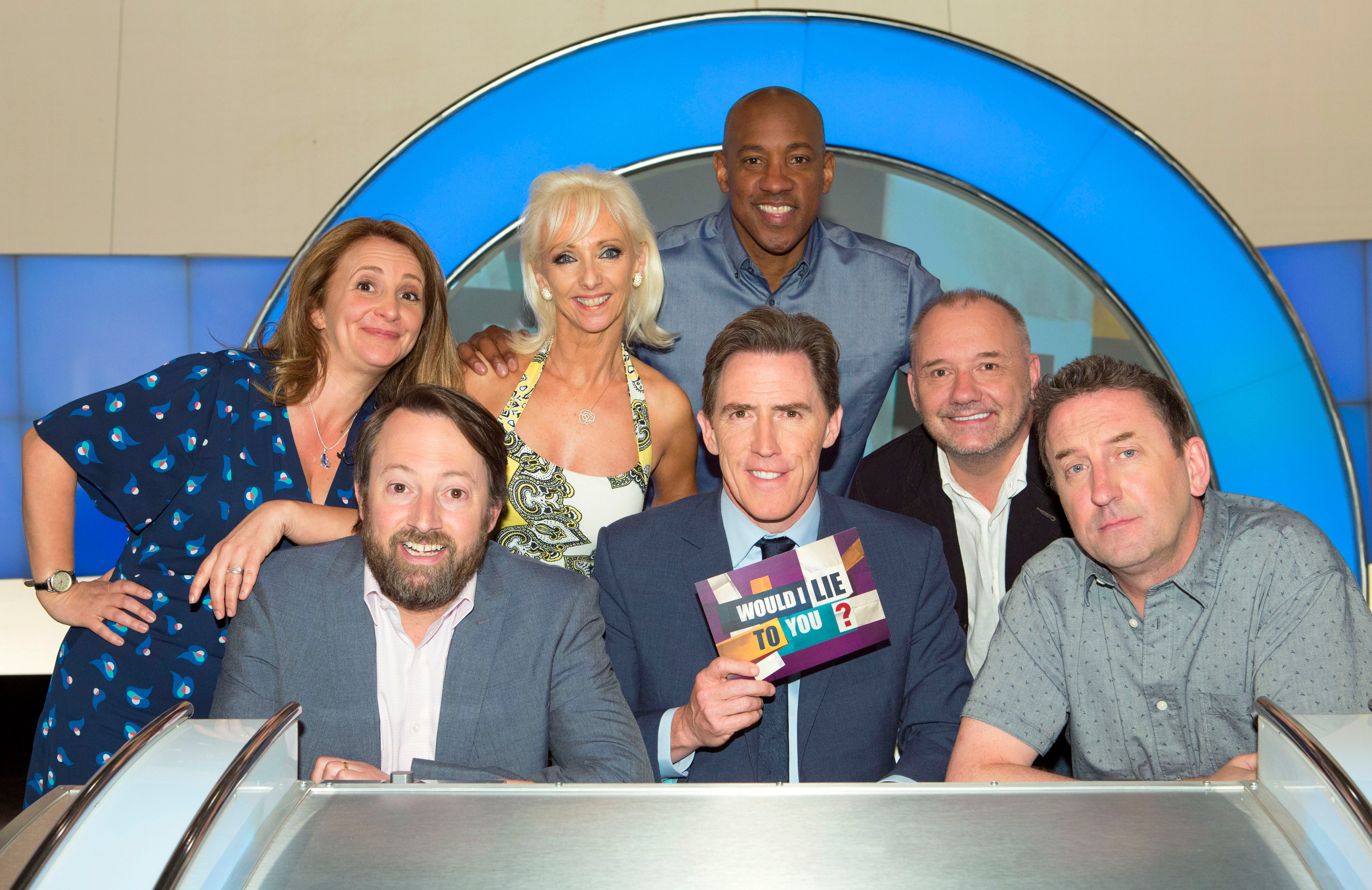 Programme Name: Would I Lie To You? - TX: n/a - Episode: n/a (No. 1) - Picture Shows:  Lucy Porter, David Mitchell, Debbie McGee, Dion Dublin, Rob Brydon, Bob Mortimer, Lee Mack - (C) Endemol Shine UK - Photographer: Brian Ritchie
