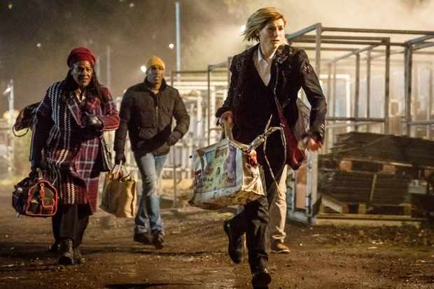 Jodie Whittaker, Sharon D Clarke and Bradley Walsh in Doctor Who series 11 (BBC, HF)