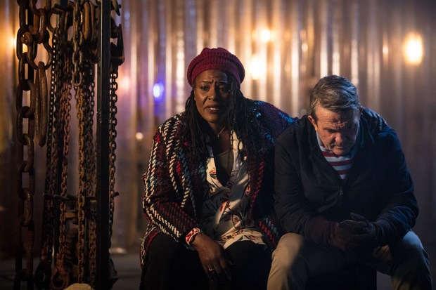 WARNING: Embargoed for publication until 00:00:01 on 02/10/2018 - Programme Name: Doctor Who Series 11 - TX: n/a - Episode: n/a (No. 1) - Picture Shows: **Strictly Embargoed until 02/10/2018** Grace (SHARON D CLARKE), Graham (BRADLEY WALSH) - (C) BBC / BBC Studios - Photographer: Sophie Mutevelian