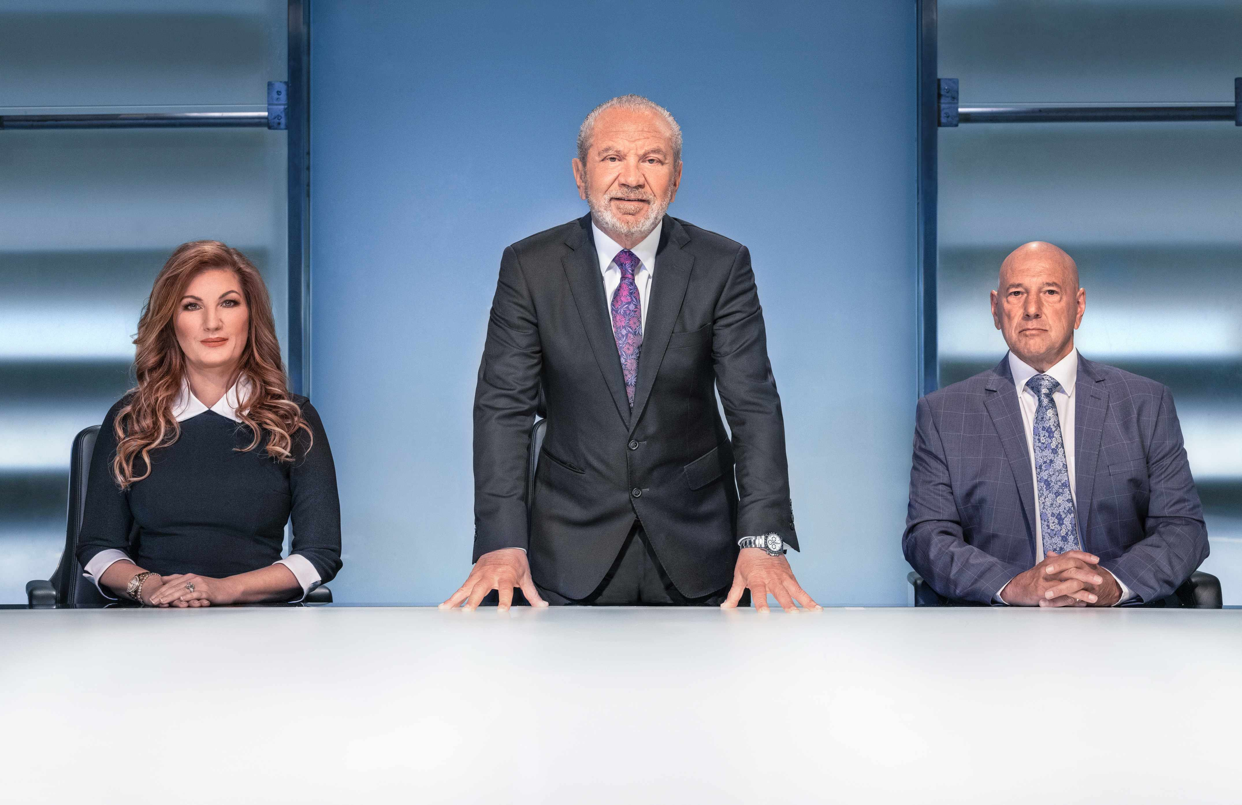 WARNING: Embargoed for publication until 10:00:01 on 25/09/2018 - Programme Name: The Apprentice  - TX: n/a - Episode: n/a (No. n/a) - Picture Shows: **IMAGE EMBARGOED FROM PUBLICATION UNTIL 10AM TUESDAY 25TH SEPTEMBER 2018** Baroness Brady, Lord Sugar, Claude Littner - (C) Boundless Taylor Herring - Photographer: Jim Marks TL
