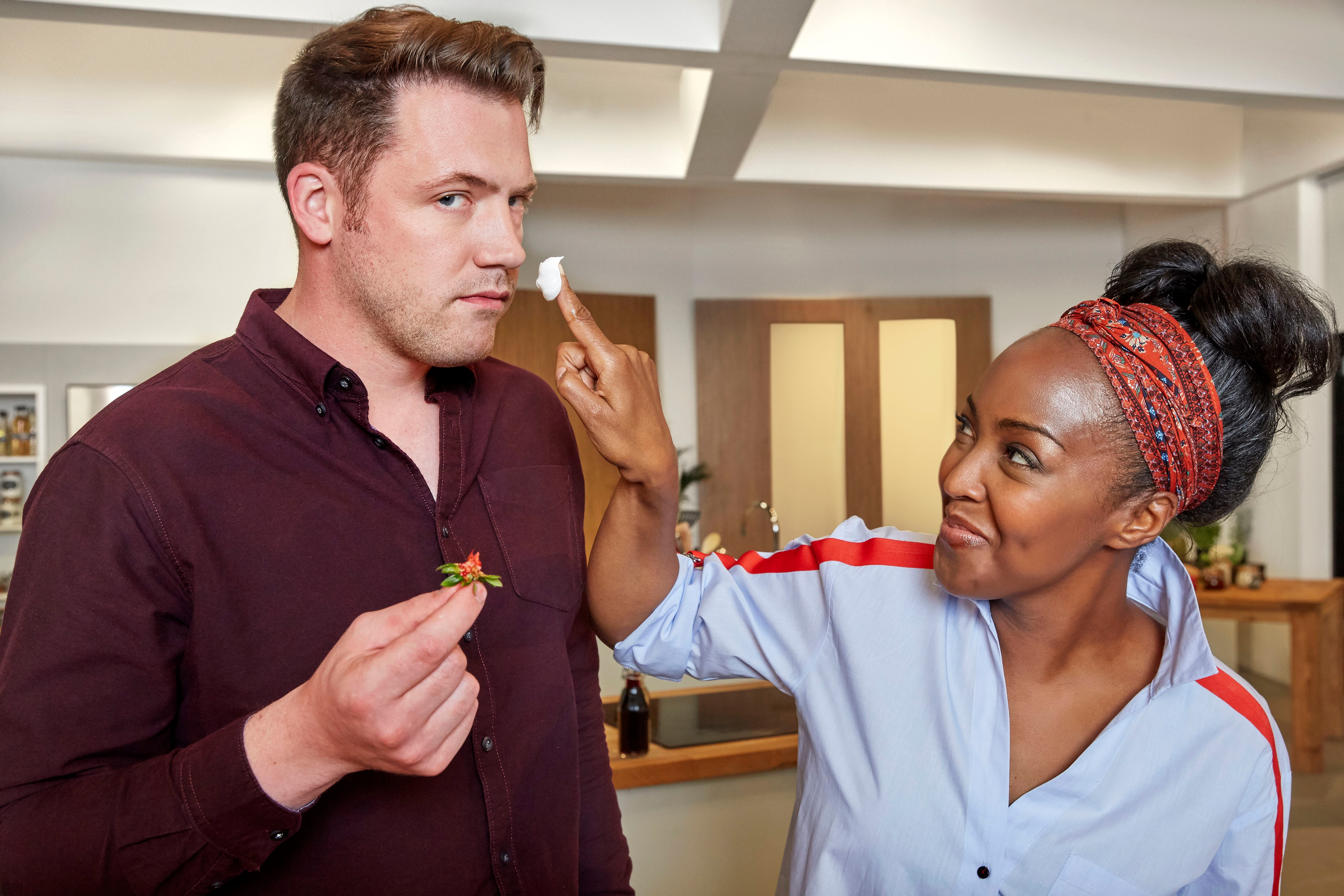 Programme Name: Family Cooking Showdown S2 - TX: n/a - Episode: n/a (No. n/a) - Picture Shows:  Tommy Banks, Angellica Bell - (C) Voltage TV Productions Limited - Photographer: Simon Hanna