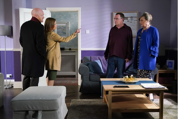 EastEnders: Max (Jake Wood), Rainie (Tanya Franks), Ian (Adam Woodyatt) and Cora (Ann Mitchell)