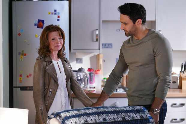 EastEnders - Carmel (Bonnie Langford) says goodbye to Kush (Davood Ghadami)