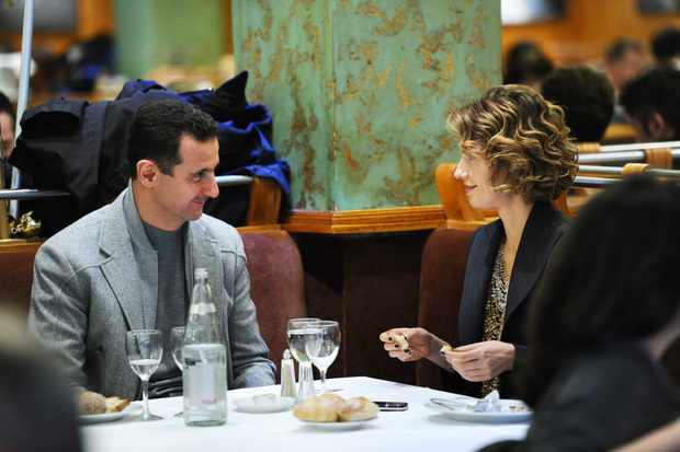 Programme Name: A Dangerous Dynasty: House of Assad - TX: 09/10/2018 - Episode: n/a (No. 1) - Picture Shows: Syrian president Bashar al-Assad and his wife Asma in the Coupole restaurant, Paris 2010.  - (C) Getty Images - Photographer: Miguel Medina
