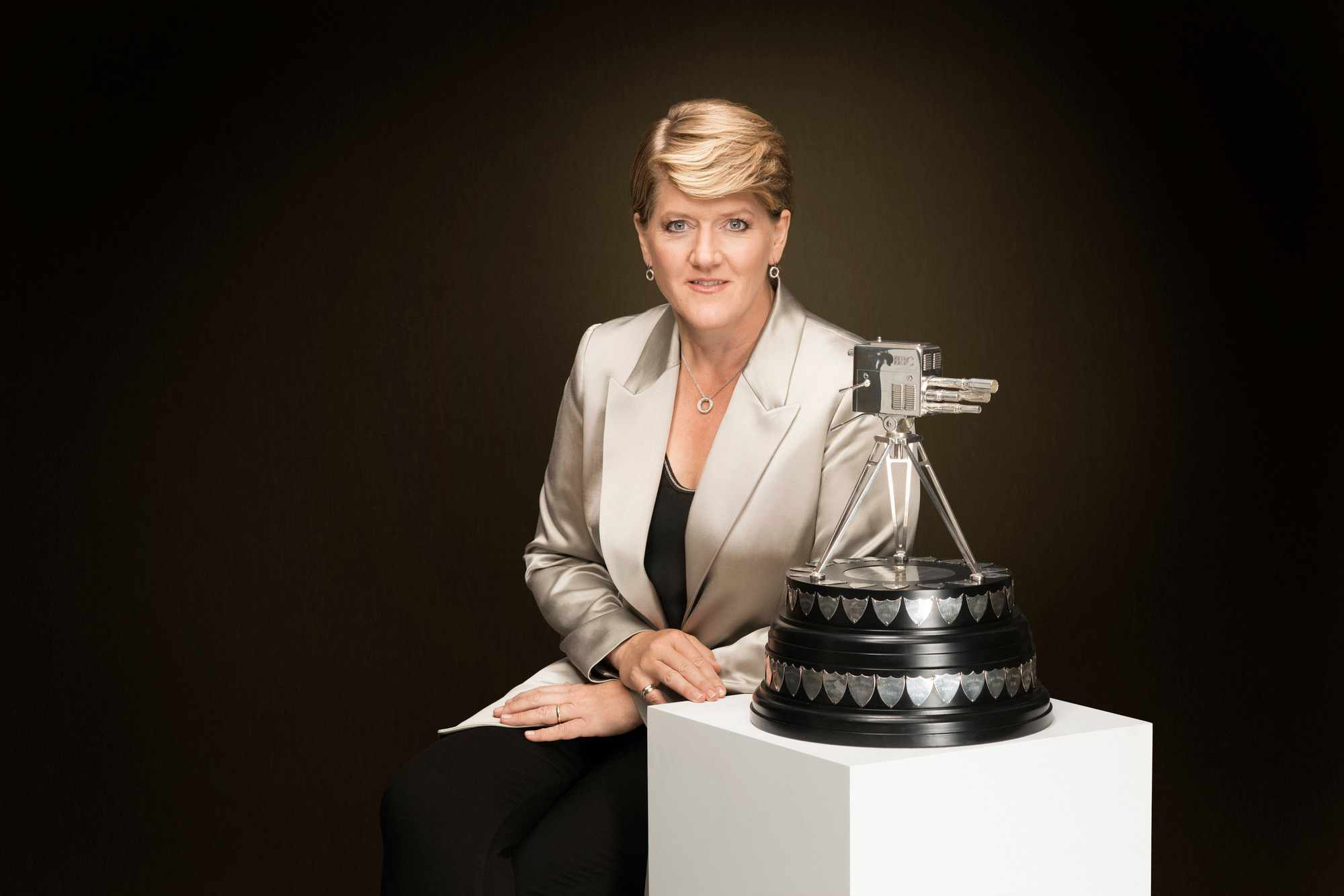 Clare Balding with the famous BBC Sports Personality of the Year trophy (BBC)