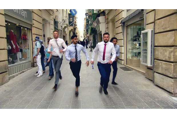 Programme Name: The Apprentice (Series 14 2018) - Episodics - TX: 03/10/2018 - Episode: The Apprentice - (Series 14 2018 ) Ep 1 (No. n/a) - Picture Shows: Frank, Daniel, Rick and Kurran running the streets in Malta as they run out of time - (C) Taylor Herring - Photographer: Screen GrabsTL