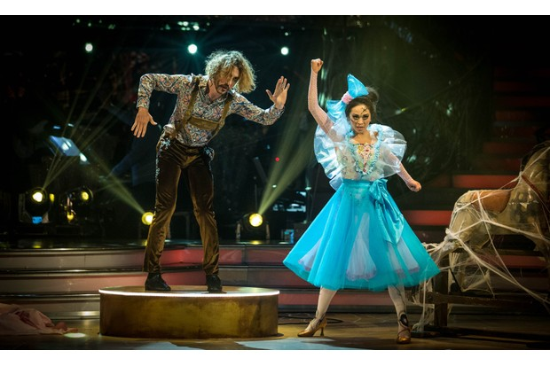 Seann Walsh and Katya Jones performed the Viennese Waltz to I Put A Spell On You by Screamin' Jay Hawkins for Strictly's 2018 Halloween special (BBC)