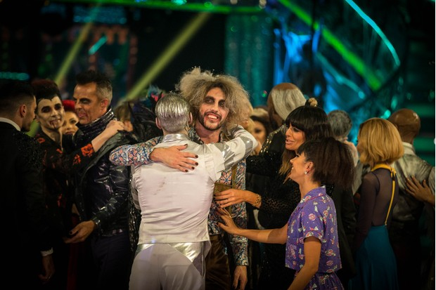 Seann Walsh shares a hug with Kevin Clifton after leaving Strictly Come Dancing 2018 during Halloween Week (BBC)