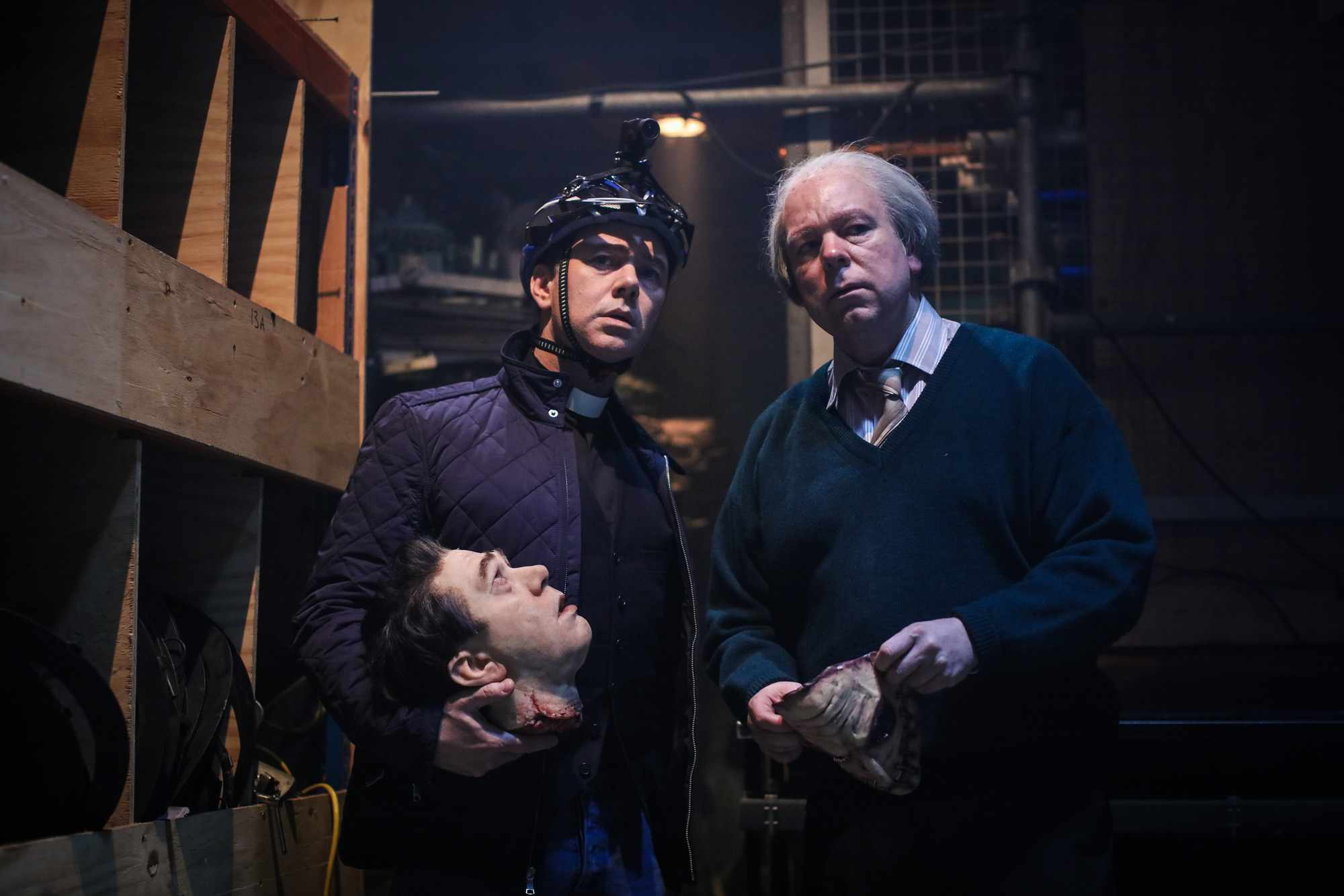 WARNING: Embargoed for publication until 22:30:01 on 28/10/2018 - Programme Name: Inside No. 9 Live - TX: 28/10/2018 - Episode: Dead Line (No. n/a) - Picture Shows: **Strictly Embargoed until 28/10/2018 22:30:01** Reverend Neil (REECE SHEARSMITH), Arthur Flitwick (STEVE PEMBERTON) - (C) BBC  - Photographer: Sophie Mutevelian