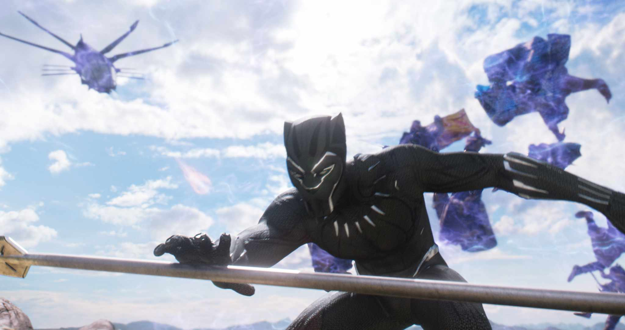 T'Challa, the new ruler of the advanced kingdom of Wakanda, must defend his land from being torn apart by enemies from outside and inside the country.  Marvel, Disney, sky pics, TL