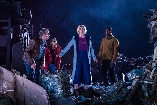 Bradley Walsh, Mandip Gill, Jodie Whittaker and Tosin Cole in Doctor Who (BBC)