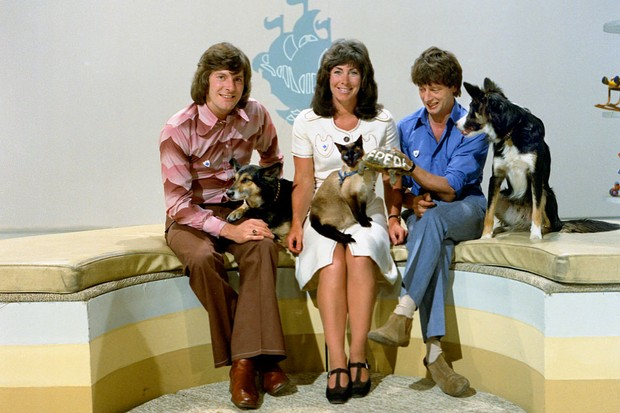 Peter Purves, Valerie Singleton and John Noakes with pets Petra, Jason, Freda and Shep (BBC)