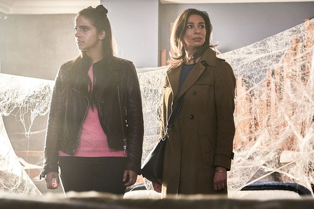 Shobna Gulati with Mandip Gill in Doctor Who: Arachnids in the UK (BBC, HF)