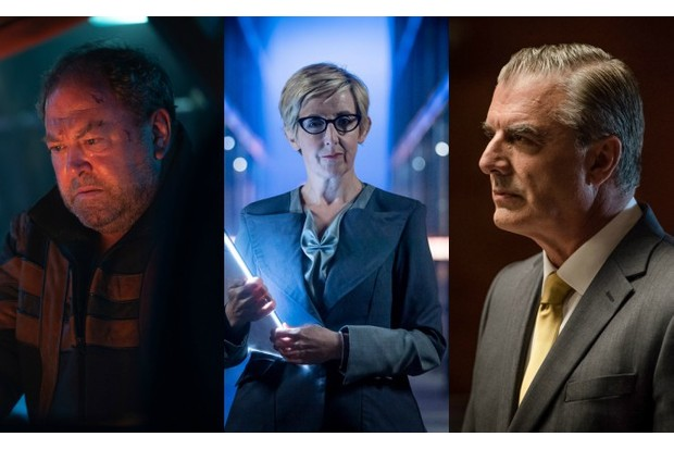 Mark Addy, Julie Hesmondhalgh and Chris Noth in Doctor Who (BBC, HF)