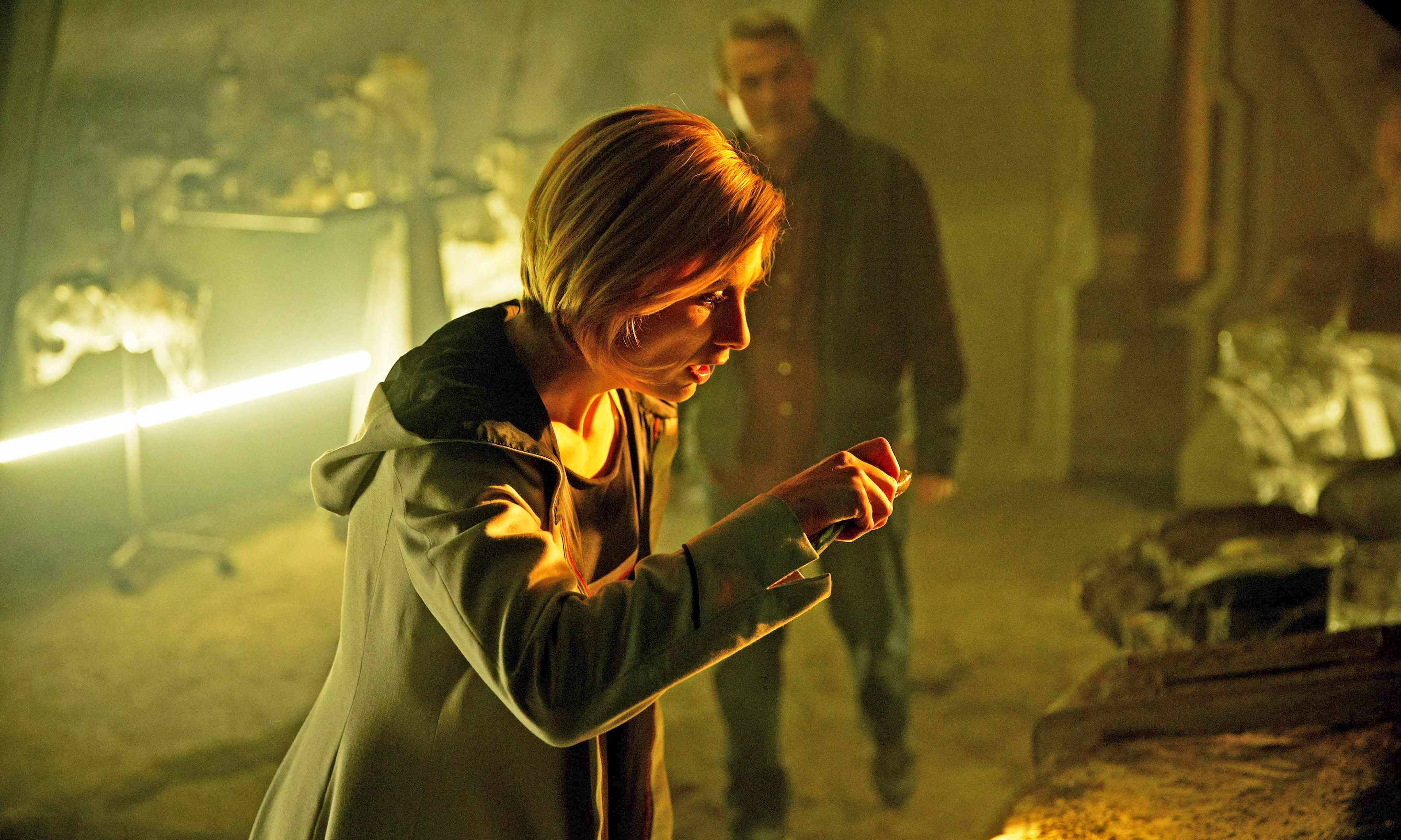 WARNING: Embargoed for publication until 00:00:01 on 20/09/2018 - Programme Name: Doctor Who Series 11 - TX: n/a - Episode: n/a (No. 2) - Picture Shows: **General Release Ep 2** *Strictly Embargoed until 20/09/2018 00:00:01** The Doctor (JODIE WHITTAKER), Graham (BRADLEY WALSH) - (C) BBC / BBC Studios - Photographer: Simon Ridgway