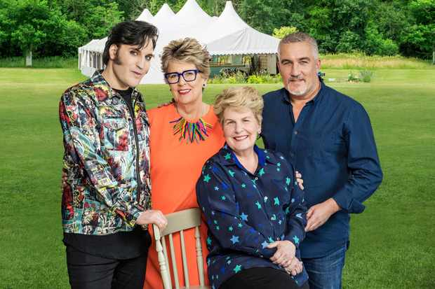 The Great British Bake Off 2018: presenters Noel Fielding and Sandi Toksvig, and judges Paul Hollywood and Prue Leith (Channel 4)