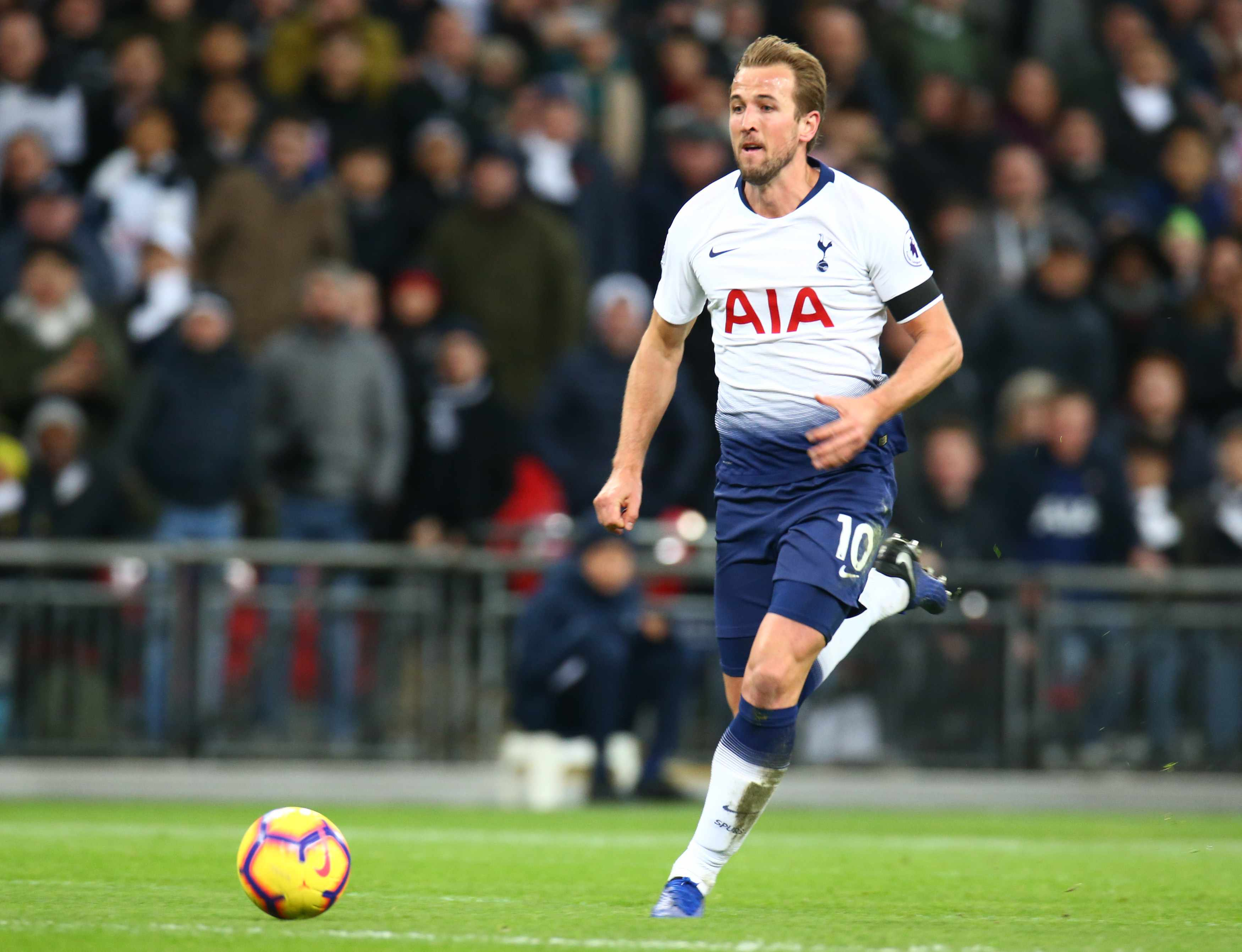 London, England - October 29, 2018 Tottenham Hotspur's Harry Kane during Premier League between Tottenham Hotspur  and Manchester City at Wembley stadium , London, England on 29 Oct 2018.   (Photo by Action Foto Sport/NurPhoto via Getty Images)