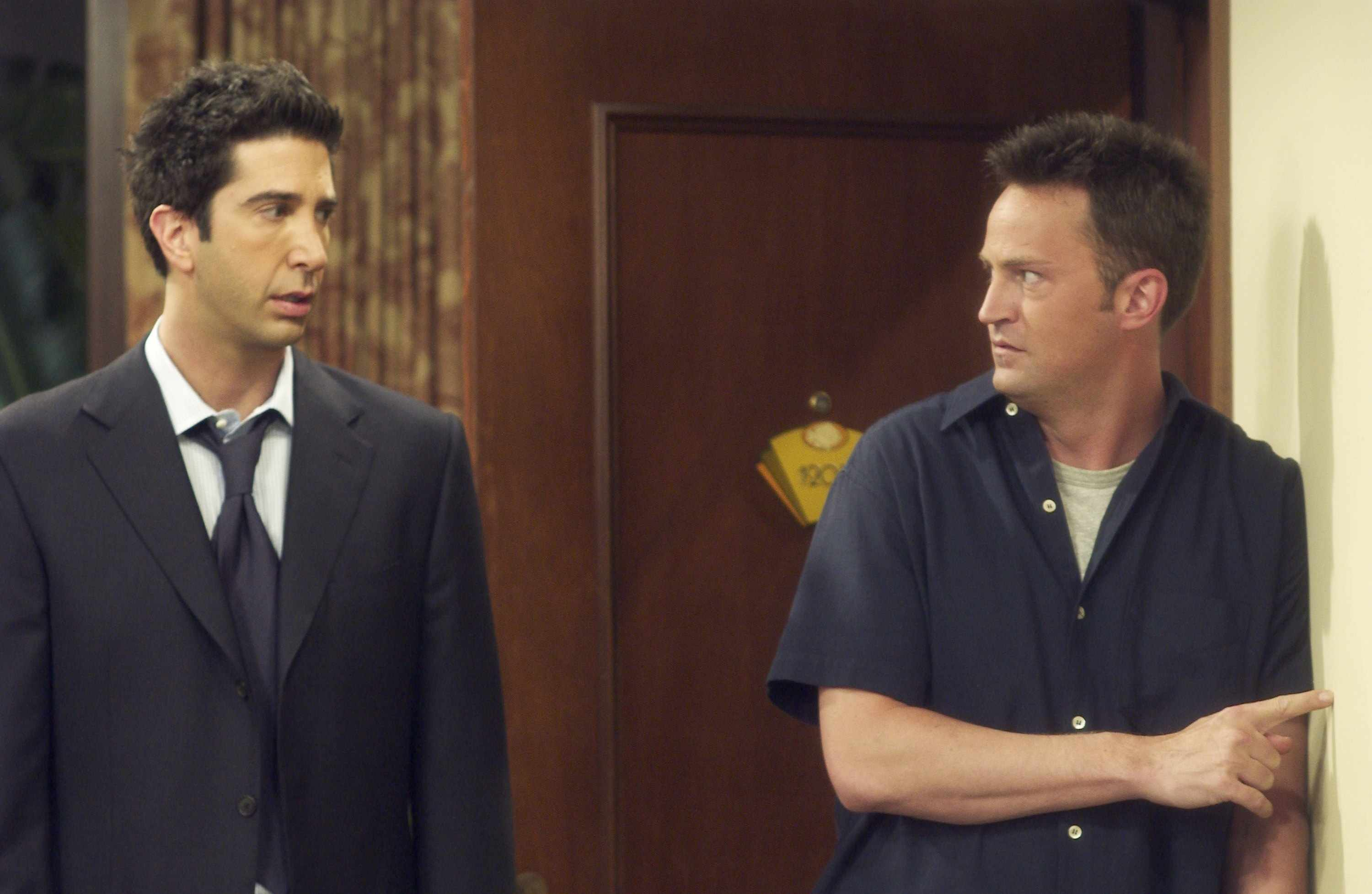 "FRIENDS -- ""The One After Joey And Rachel Kiss"" -- Episode 1 -- Aired 09/25/2003  --  Pictured: (l-r)  David Schwimmer as Ross Geller, Matthew Perry as Chandler Bing -- Photo by: NBCU Photo Bank"
