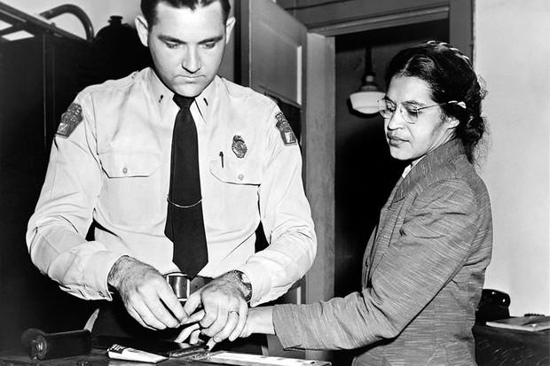 Rosa Parks is fingerprinted following her arrest