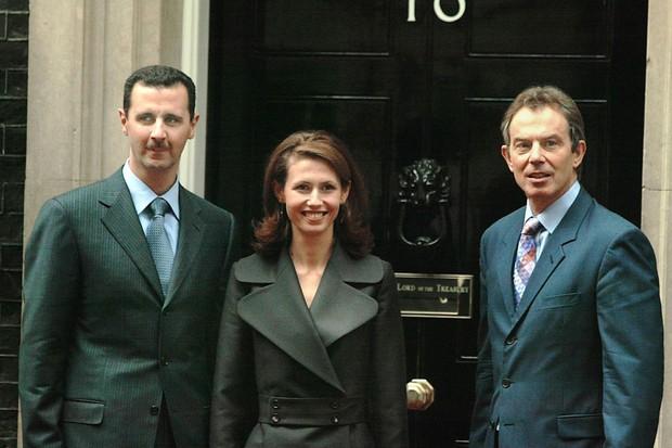 Bashar al-Assad, his wife Asma, and Tony Blair (Getty)