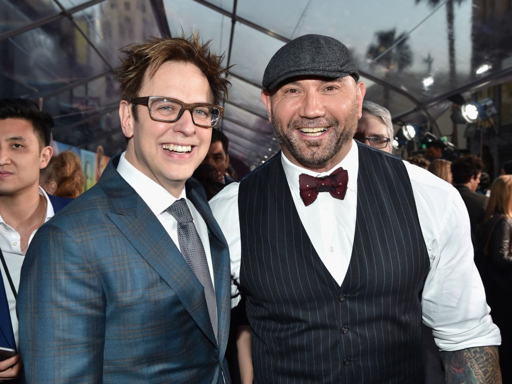 """HOLLYWOOD, CA - APRIL 19:  Director James Gunn (L) and actor Dave Bautista at the premiere of Disney and Marvel's """"Guardians Of The Galaxy Vol. 2"""" at Dolby Theatre on April 19, 2017 in Hollywood, California.  (Photo by Frazer Harrison/Getty Images)"""
