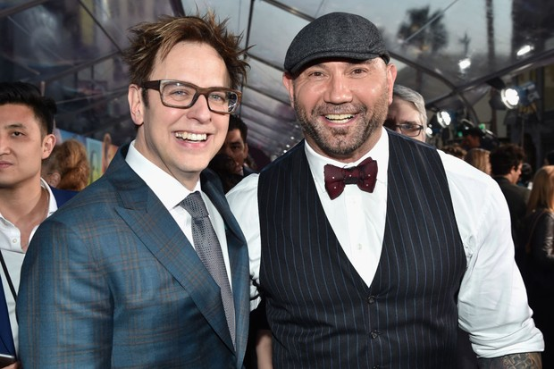 "HOLLYWOOD, CA - APRIL 19: Director James Gunn (L) and actor Dave Bautista at the premiere of Disney and Marvel's ""Guardians Of The Galaxy Vol. 2"" at Dolby Theatre on April 19, 2017 in Hollywood, California. (Photo by Frazer Harrison/Getty Images)"