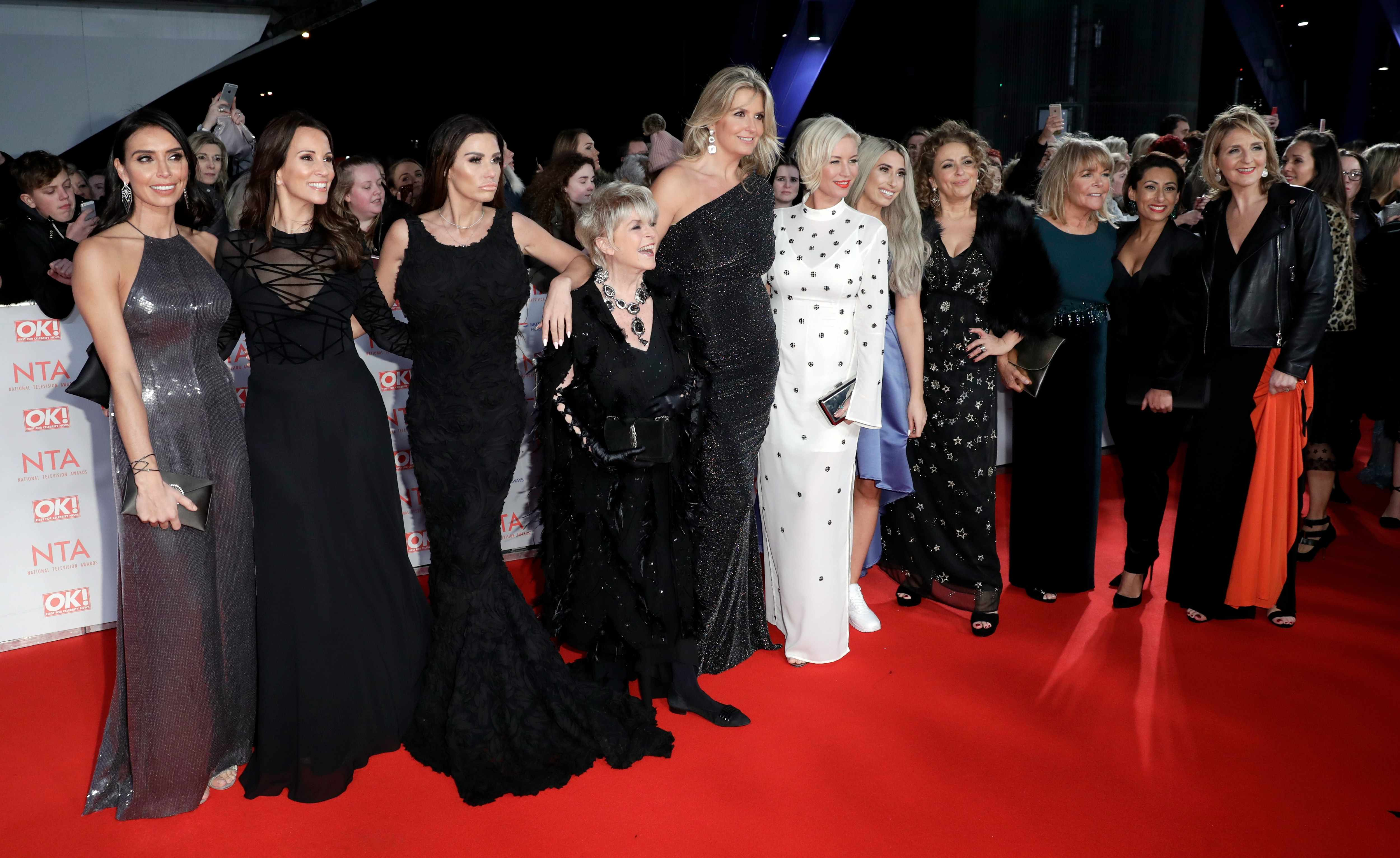 LONDON, ENGLAND - JANUARY 23:  (L-R) Christine Lampard, Andrea McLean, Katie Price, Gloria Hunniford, Penny Lancaster, Denise van Outen, Stacey Soloman, Nadia Sawalha, Linda Robson, guest and Kaye Adams attend the National Television Awards 2018 at the O2 Arena on January 23, 2018 in London, England.  (Photo by John Phillips/Getty Images)