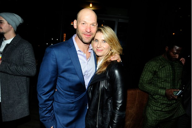 Corey Stall and his wife Nadia Bowers pictured in New York in February 2018 (Getty)