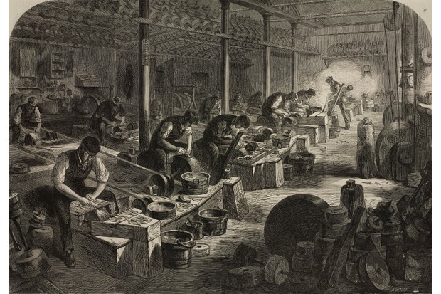 The steel manufactures of Sheffield, the workshop for the production of razors, United Kingdom, illustration from the magazine The Illustrated London News, volume XLVIII, January 20, 1866.
