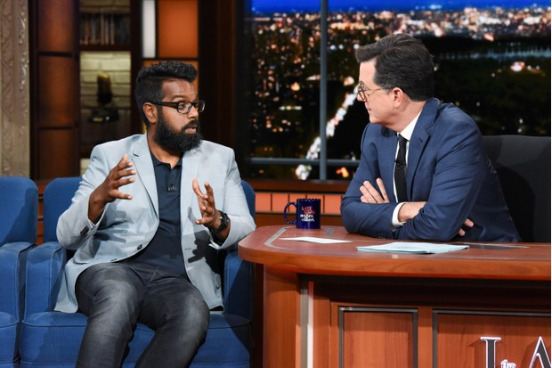 NEW YORK - JUNE 25: The Late Show with Stephen Colbert and guest Romesh Ranganathan during Monday's June 25, 2018 show. (Photo by Scott Kowalchyk/CBS via Getty Images)