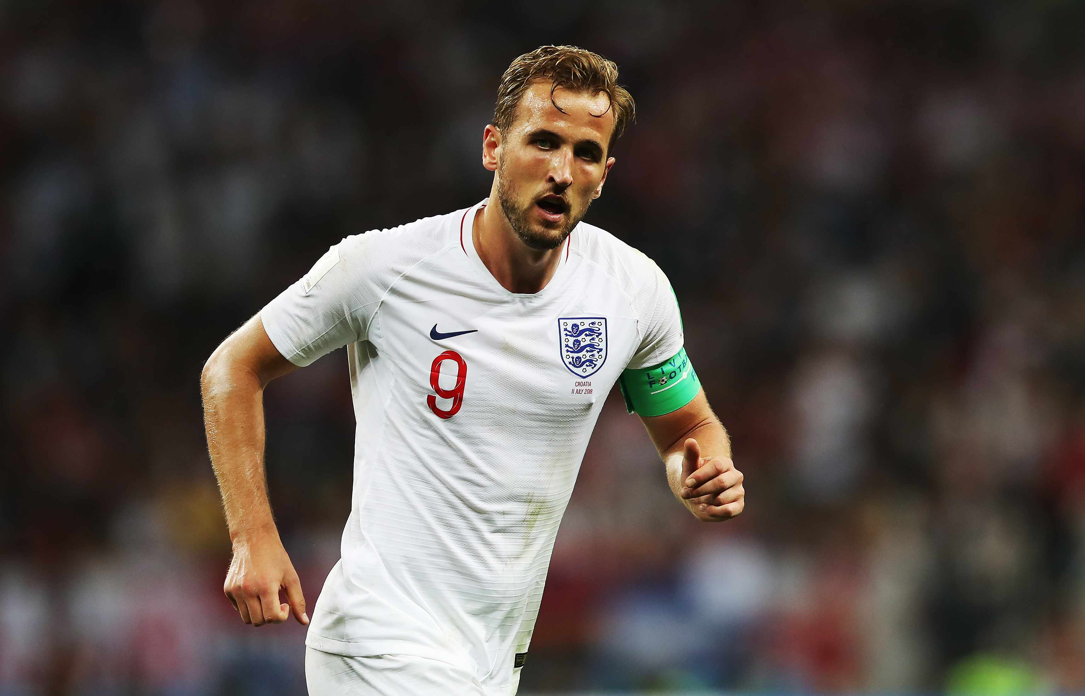 MOSCOW, RUSSIA - JULY 11: Harry Kane of England is seen during the 2018 FIFA World Cup Russia Semi Final match between England and Croatia at Luzhniki Stadium on July 11, 2018 in Moscow, Russia. (Photo by Ian MacNicol/Getty Images)