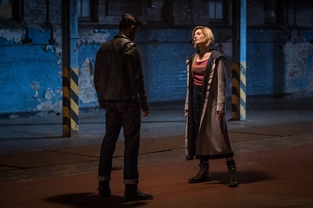 Krasko (Joshua Bowman) faces off with the Doctor (Jodie Whittaker) - BBC