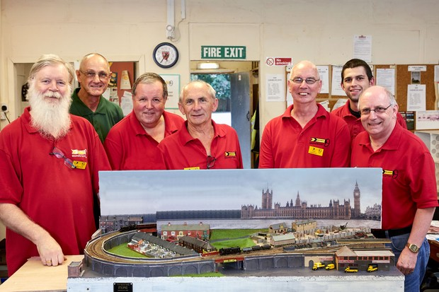 Basingstoke's modellers, Clive Essery, Dave Alsancak, Ian Morgan, Dave Richards, John Smerdon, Chris Cleveland, and Peter Thorpe (photographed by Andy Earl)