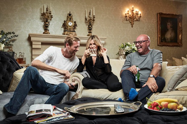 Peter Crouch, Abbey Clancy and her dad Geoff.