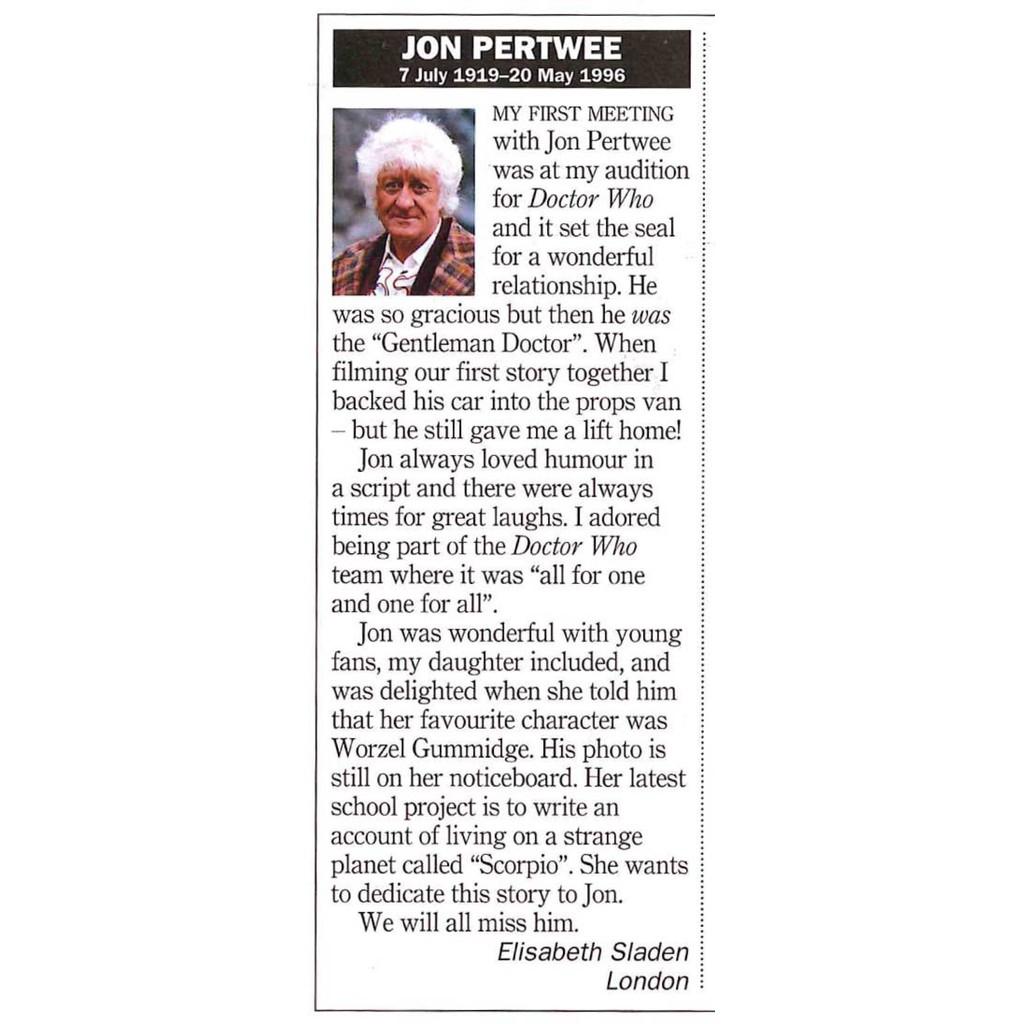 RT Jon Pertwee obit 1 June 1996
